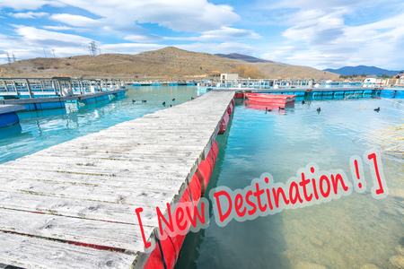 rearing of fish: Salmon Fish farm floating on the glacial waters of Wairepo Arm, Twizel, South Island, New Zealand