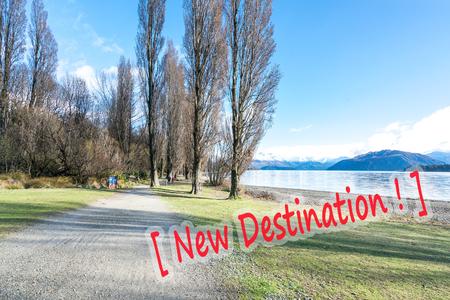 View of jogging track after winter season at wanaka lake, New Zealand