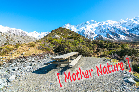 Resting wooden table and chair at Mount Cook, New Zealand