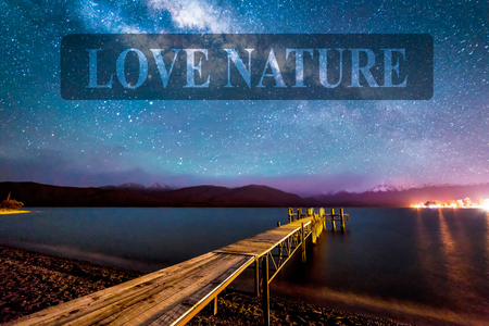 te: Night milkyway with wooden jetty at Te Anau, New Zealand