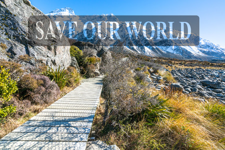 Hooker valley walking trek at Mouth Cook, New Zealand Stock Photo