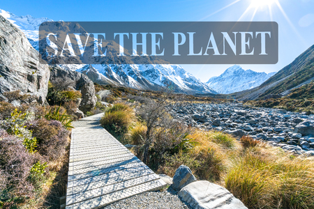 Hooker valley walking trek with sun flare at Mouth Cook, New Zealand Stock Photo