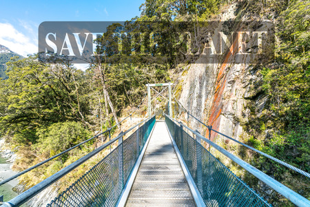 Step on a suspension bridge at Blue Pool, New Zealand