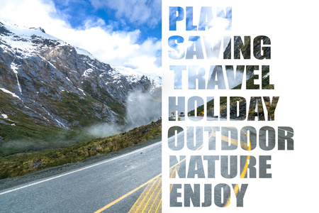 The road to Milford Sound among majestic mountains Stock Photo