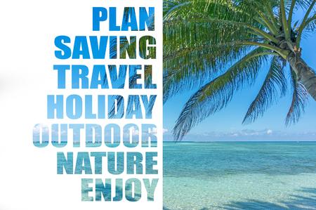 Coconut tree and blue beach Stock Photo