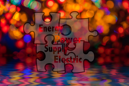 Jigsaw shape and conceptual text with bokeh blur background.
