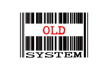 old items: bar code with conceptual text isolated white background