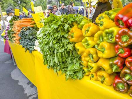 the merchant of venice: VENICE, ITALY - MAY 07, 2017: Farm street market direct from farmer with fresh and healty vegetables.
