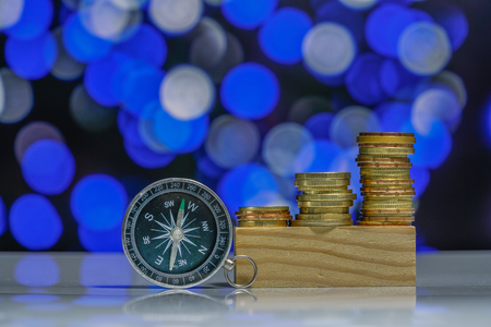 Coins with light bokeh background