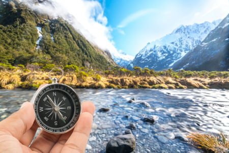 Water stream with snow mountain at monkey creek, New Zealand Stock Photo