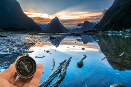 Sunrise and reflection at Mitre Peak, Milford Sound in Fiordland National Park, New Zealand