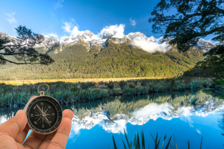 Mirror Lake in the Fiordland National Park, South Island of New Zealand.