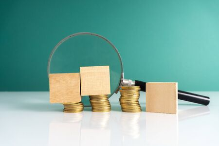 Coins stacking with financial concept.