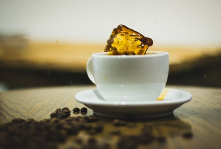 A splash in a drip coffee Banque d'images