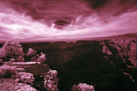 Infrared Image of Grand Canyon Imagens