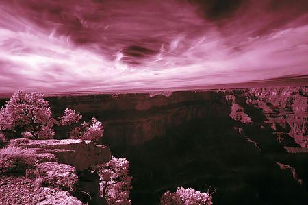 Infrared Image of Grand Canyon Фото со стока