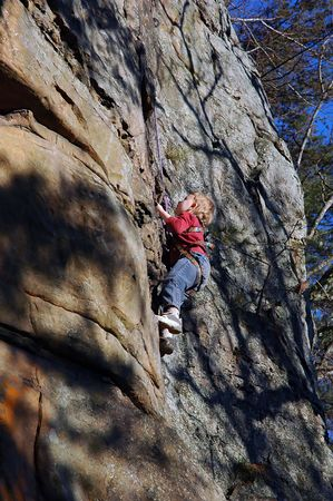 belay: Child Enjoying Rock Climbing