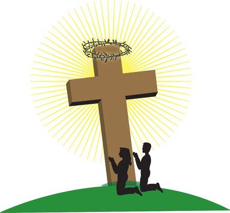 donna in ginocchio: L'uomo e la donna in ginocchio, ai piedi della croce