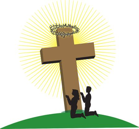 Man and Woman kneeling at the foot of the cross Stock Photo - 268280