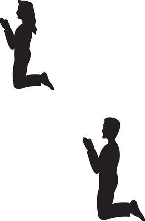 ひざまずく: 折り敷きカップル