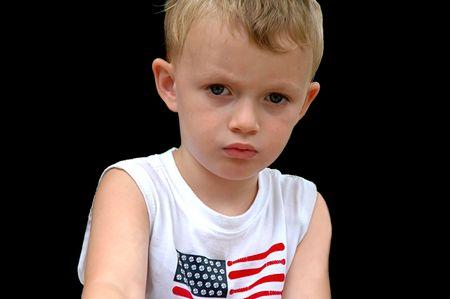 Ongelukkig jongetje Stockfoto