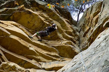 finesse: Challenging rock climb Stock Photo