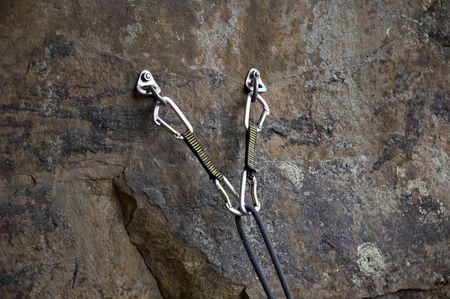 belay: Rock climbing anchors Stock Photo