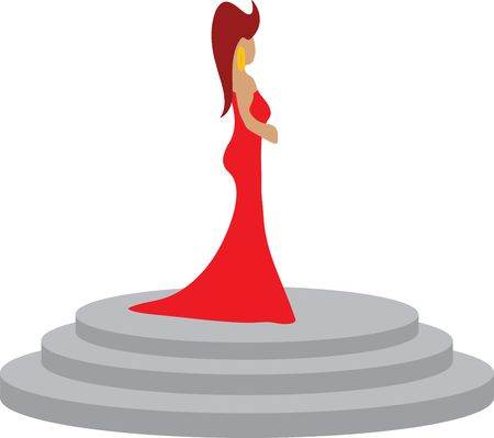 Woman in red dress standing on pedestal