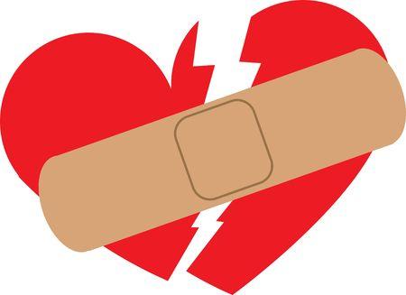 Broken heart illustration with plaster