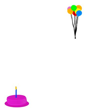 Vector illustration with cake and candle and a bunch of balloons