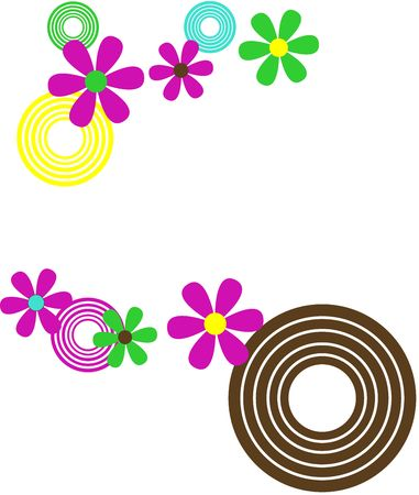retro circles and flowers vector illustration illustration