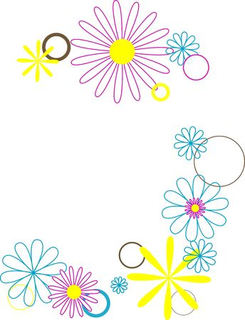 retro flowers and circles