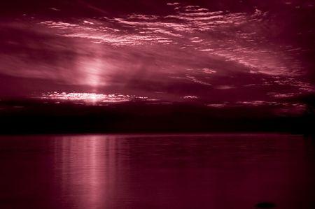 infrared sunset over lake Stok Fotoğraf