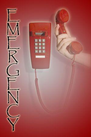 Hand holding up red phone Zdjęcie Seryjne