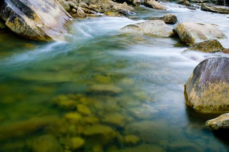 time exposure of stream rushing by photo