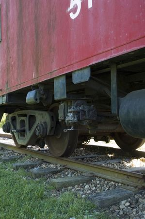 Rear wheels of old caboose