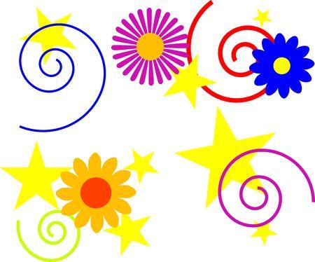 stars, swirls, and flowers. great for backgrounds Reklamní fotografie