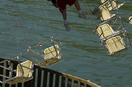 swings on an amusement park ride, narrow DOF Imagens