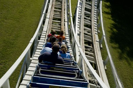 going down: Going down a hill on an old wooden rollercoaster