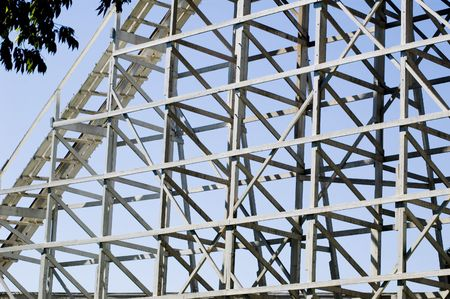 Old wooden rollercoaster supports