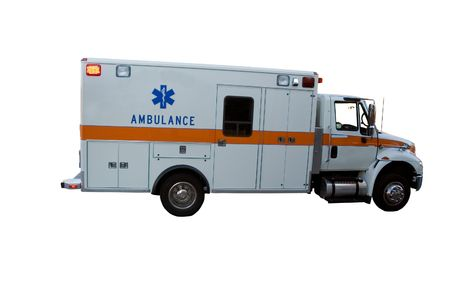 care providers: Ambulance isolated on white background Stock Photo