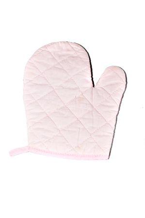 pink oven mitt on white background