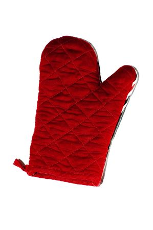 red oven mitt isolated on white