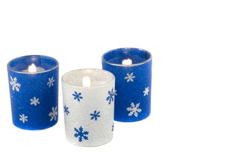 holiday candles with snowflakes and glitter Stock Photo