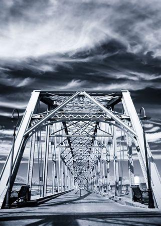 truss: Large steel truss bridge in perspective