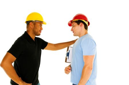 two construction workers have serious conversation