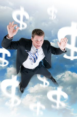 Businessman falls from the sky in a floundering economy photo