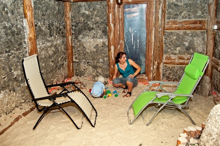 salt cave intended for the inhalation and the rehabilitation of the upper respiratory tract for children and adults photo