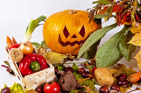 conkers: autumn composition of vegetables of leaves and the pumpkin halloween on the white background
