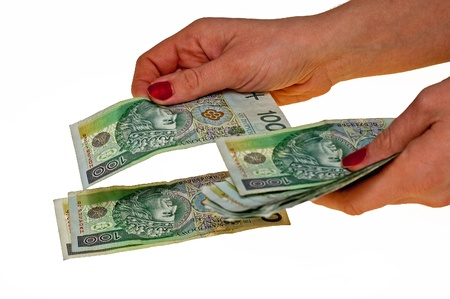 boodle: Conversion of cash notes on a white background Stock Photo